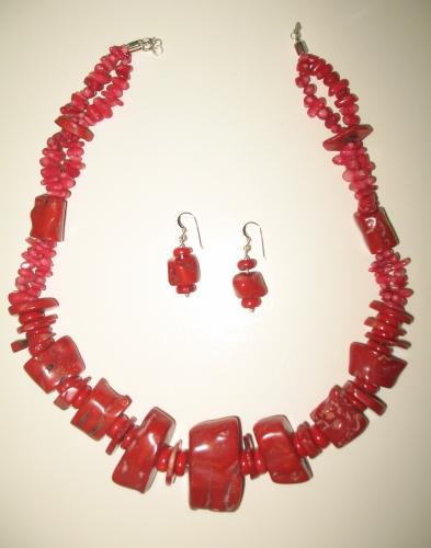 Dyed Red Coral Necklace and Earrings