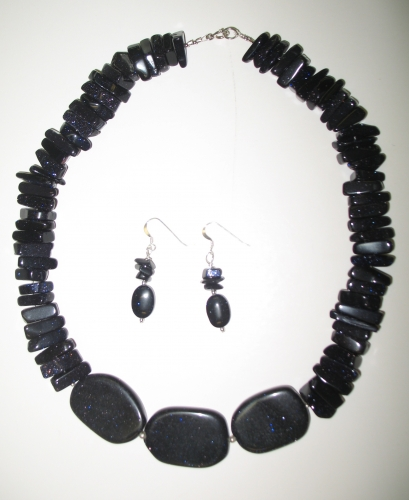 Blue Goldstone Necklace and Earrings