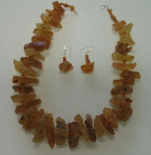 Natural Baltic Amber Necklace & Earrings